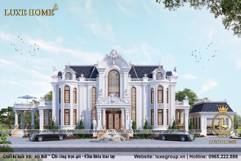 Thiết kế biệt thự lâu đài 2 tầng đẹp, chất lượng – BT 21366
