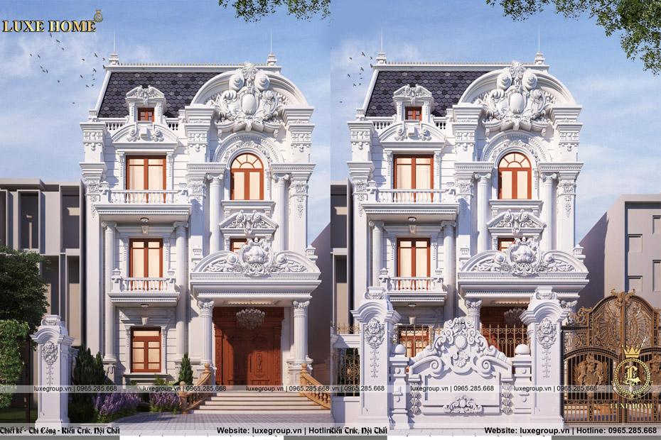 Mẫu biệt thự 3 tầng mặt phố cổ điển phong cách pháp – BT 3232