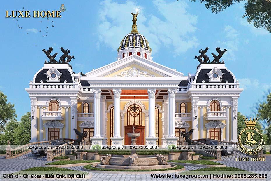 Thiết kế biệt thự lâu đài 2 tầng tân cổ điển tinh tế – DT 22145