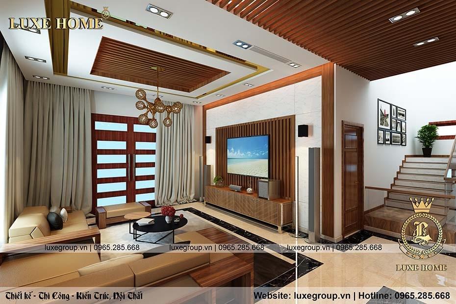 Thiết kế nội thất hiện đại phòng khách với phòng ngủ sang trọng – NT 0144